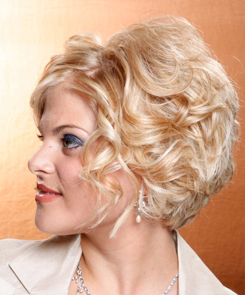 Medium Wavy Formal    Hairstyle   - Light Copper Blonde Hair Color - Side on View