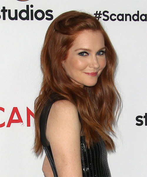 Darby Stanchfield Long Wavy Casual   Hairstyle   - Medium Red - Side on View