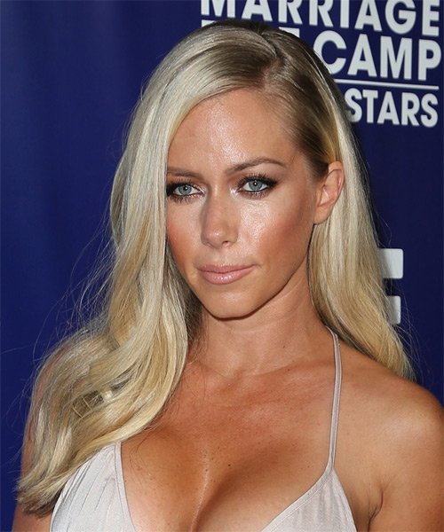 Kendra Wilkinson Long Straight Formal   Hairstyle   - Light Blonde - Side on View