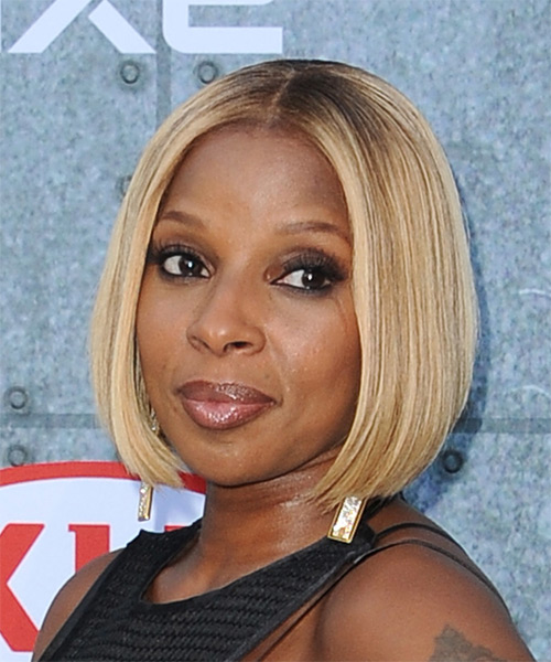 Mary J Blige Medium Straight    Blonde Bob  Haircut   - Side on View