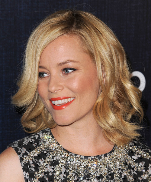 Elizabeth Banks Medium Wavy Formal   Hairstyle   - Dark Blonde (Golden) - Side on View