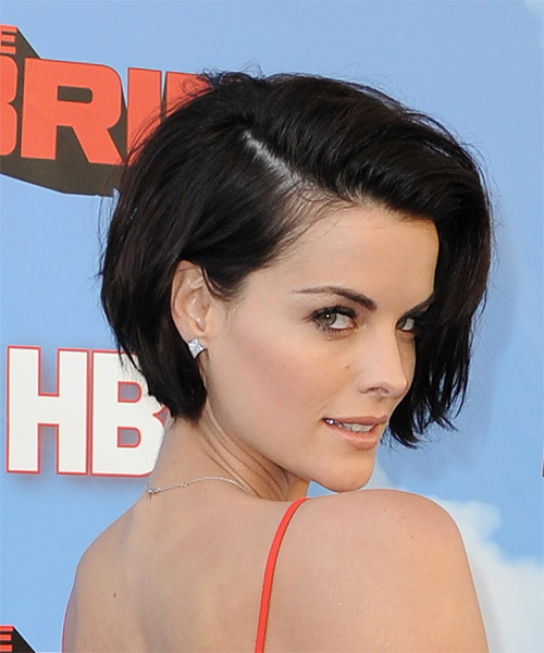 Jaimie Alexander Short Straight   Dark Brunette   Hairstyle   - Side on View
