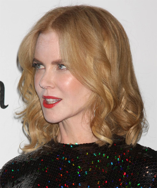 Nicole Kidman Medium Wavy Formal   Hairstyle   - Light Blonde (Strawberry) - Side on View