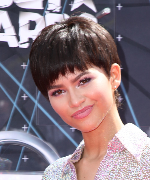 Zendaya Coleman Short Straight Casual Layered Pixie  Hairstyle with Razor Cut Bangs  -  Chocolate Brunette Hair Color - Side on View