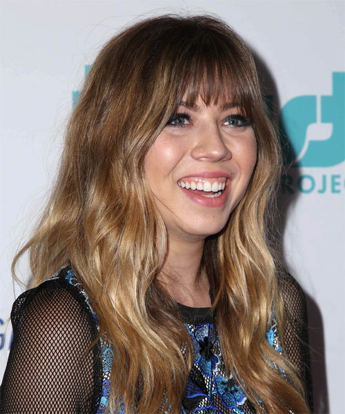 Jennette McCurdy Long Wavy   Light Brunette   Hairstyle with Layered Bangs  and Dark Blonde Highlights - Side on View