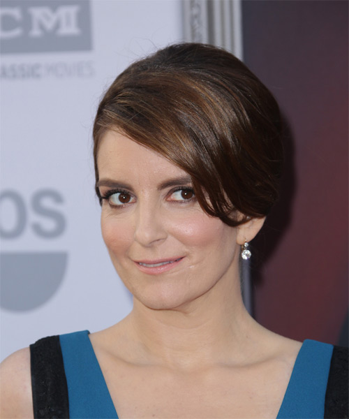 Tina Fey Long Straight Formal Wedding  Hairstyle   - Dark Brunette - Side on View