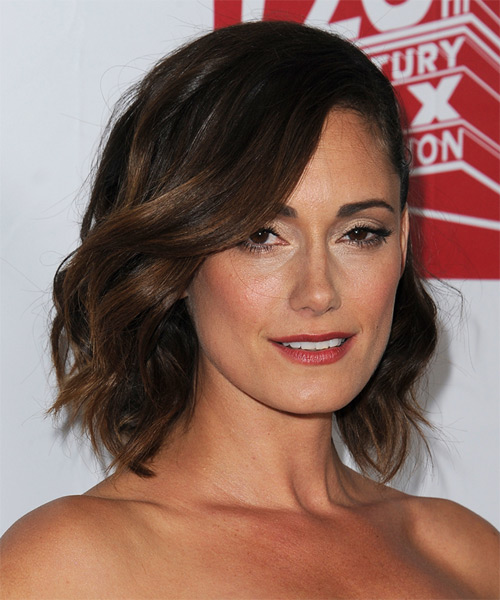 Natalie Brown Medium Wavy Formal   Hairstyle   - Dark Brunette - Side on View