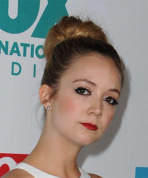 Billie Lourd Long Straight Formal Wedding Updo Hairstyle   - Side on View