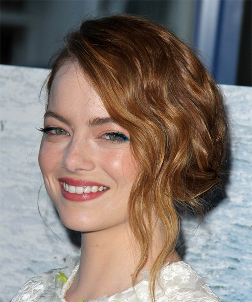 Emma Stone Long Wavy Formal Wedding Updo Hairstyle   - Side on View