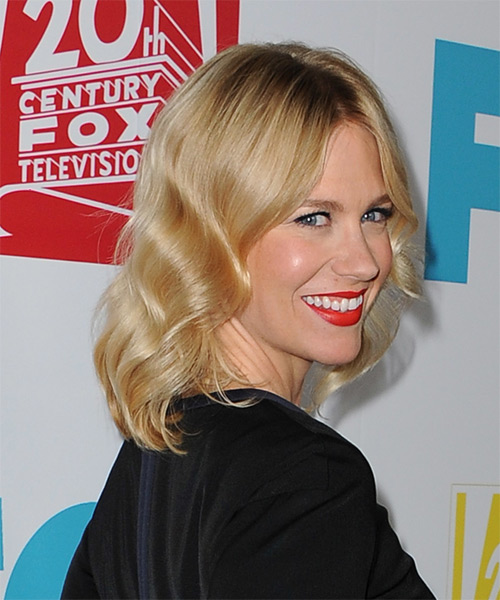 January Jones Medium Wavy Formal   Hairstyle   - Medium Blonde (Golden) - Side on View