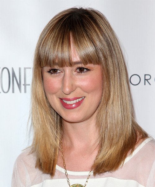Stephanie Drake Long Straight Casual   Hairstyle with Blunt Cut Bangs  - Dark Blonde - Side on View