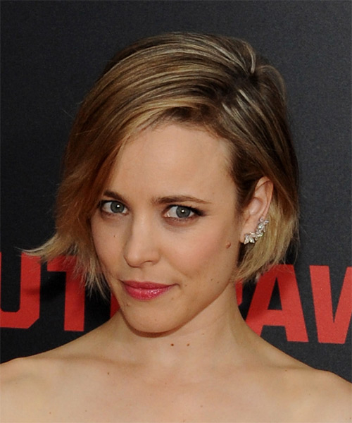 Rachel McAdams Short Straight Formal   Hairstyle with Side Swept Bangs  - Dark Blonde - Side on View
