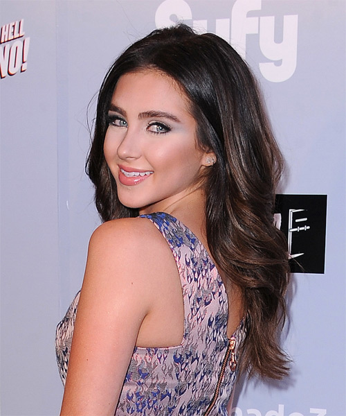 Ryan Newman Long Wavy Casual   Hairstyle   (Mocha) - Side on View