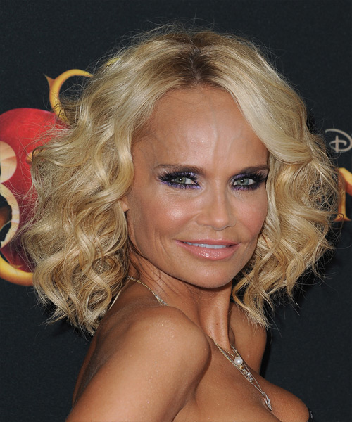 Kristin Chenoweth Medium Curly Formal    Hairstyle with Side Swept Bangs  -  Golden Blonde Hair Color - Side on View