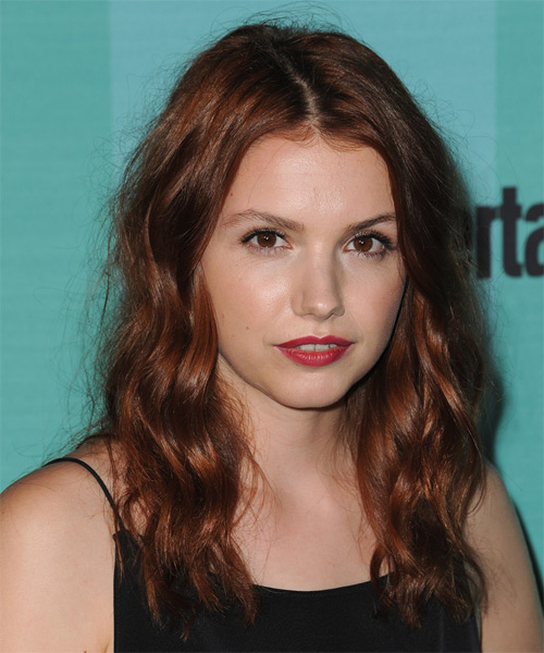Hannah Murray Long Wavy Casual   Hairstyle   - Dark Red - Side on View