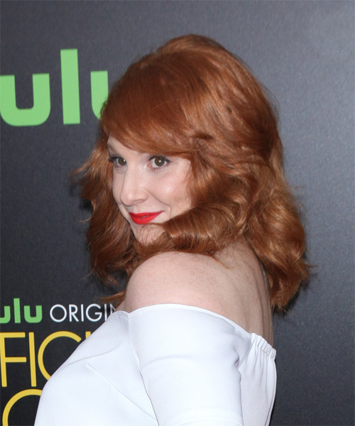Julie Klausner Long Wavy Formal    Hairstyle with Side Swept Bangs  - Light Copper Red Hair Color - Side on View