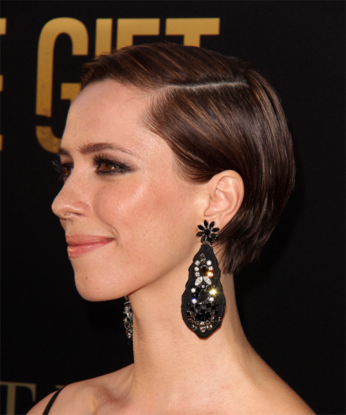 Rebecca Hall Short Straight Formal   Hairstyle   - Dark Brunette - Side on View