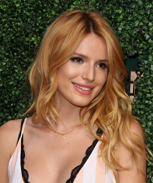 Bella Thorne Long Wavy Casual   Hairstyle   - Light Red (Copper) - Side on View