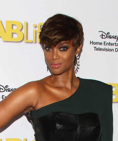 Tyra Banks Short Straight Casual Pixie  Hairstyle   - Medium Brunette - Side on View