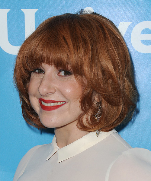 Julie Klausner Medium Straight Casual   Hairstyle with Blunt Cut Bangs  - Medium Red - Side on View