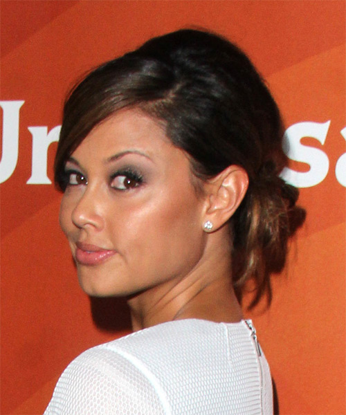 Vanessa Lachey Long Straight Formal Wedding  Hairstyle with Side Swept Bangs  - Dark Brunette - Side on View