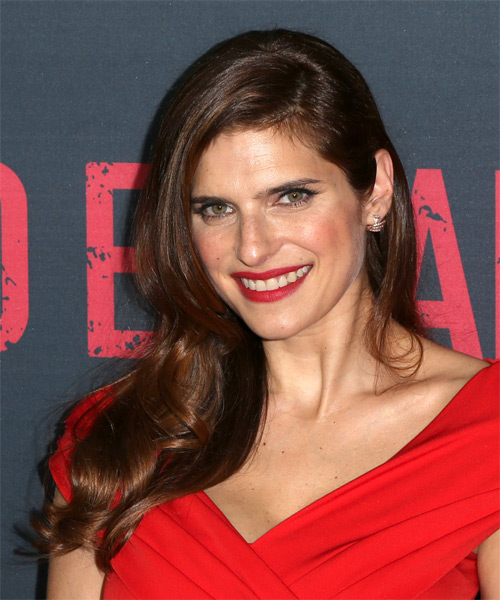 Lake Bell Long Wavy Formal   Hairstyle   - Dark Brunette - Side on View
