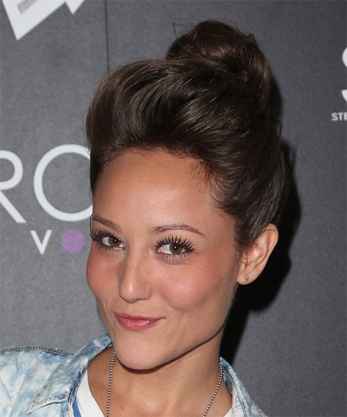 Lauren C Mayhew Long Straight Casual  Updo Hairstyle   - Dark Brunette - Side on View