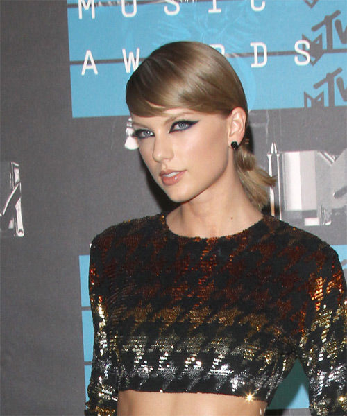 Taylor Swift Long Straight Formal    Hairstyle with Side Swept Bangs  -  Ash Blonde Hair Color - Side on View