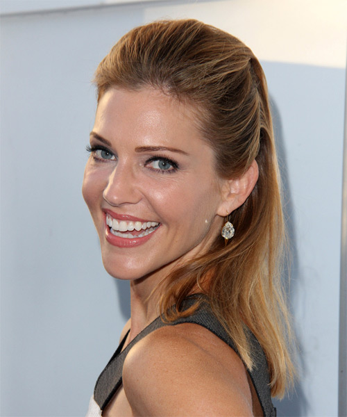 Tricia Helfer Long Straight Casual ght Brunette Half Up Hairstyle