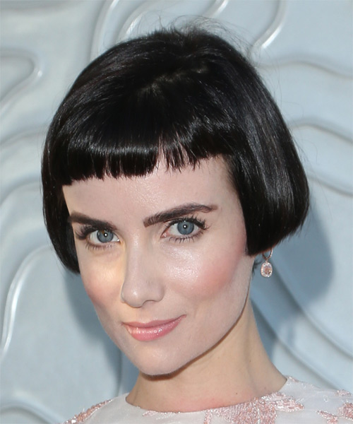 Victoria Summer Short Straight   Bob  Haircut with Blunt Cut Bangs  - Side on View