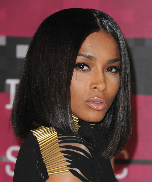 Ciara Medium Straight Formal Bob  Hairstyle   - Black - Side on View