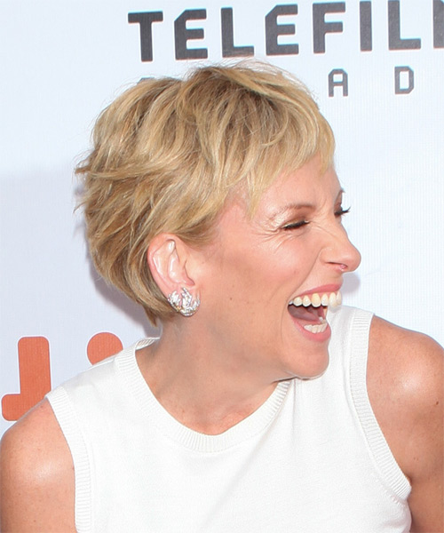 Toni Collette Short Straight Casual Layered Pixie  Hairstyle   -  Blonde and Light Brunette Two-Tone Hair Color - Side on View