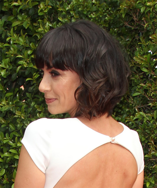 Constance Zimmer Medium Wavy Formal   Hairstyle with Blunt Cut Bangs  - Dark Brunette - Side on View