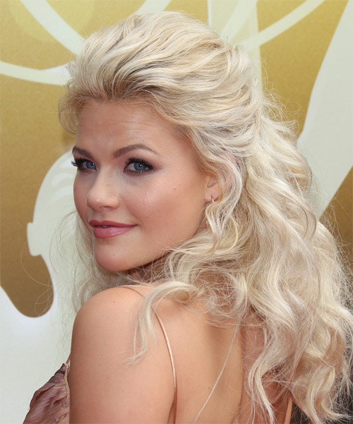 Witney Carson Long Wavy Casual  Half Up Hairstyle   - Light Blonde - Side on View