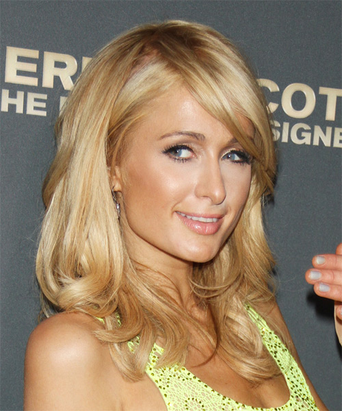 Paris Hilton Long Straight Formal   Hairstyle with Side Swept Bangs  - Dark Blonde (Golden) - Side on View