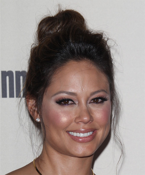 Vanessa Lachey Long Straight Casual  Updo Hairstyle   - Dark Brunette - Side on View