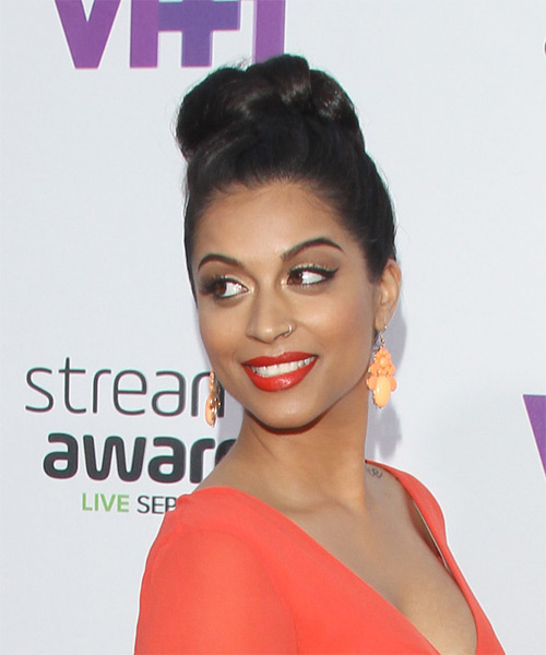 Lilly Singh Long Straight Formal Wedding Updo Hairstyle   - Black - Side on View