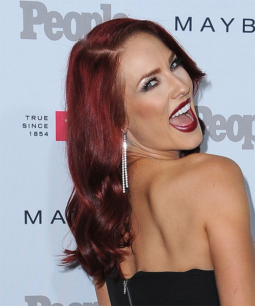 Sharna Burgess Long Wavy    Burgundy Red   Hairstyle   - Side on View