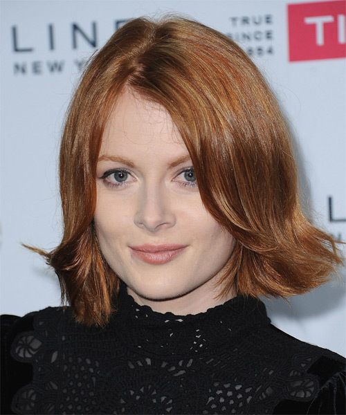 Emily Beecham Medium Straight   Light Ginger Red   Hairstyle   - Side on View