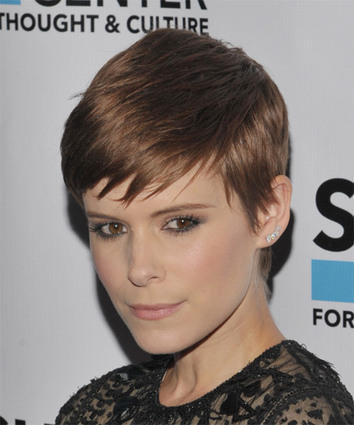 Kate Mara Short Straight Casual Pixie  Hairstyle with Side Swept Bangs  - Side on View