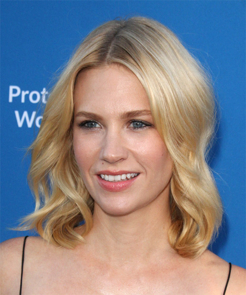 January Jones  Medium Wavy Casual    Hairstyle   - Light Honey Blonde Hair Color - Side on View