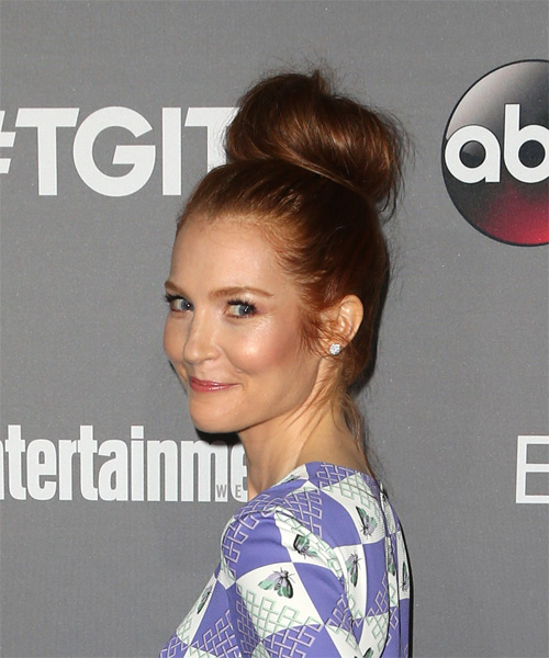 Darby Stanchfield Long Straight Casual Wedding Updo Hairstyle   - Dark Red - Side on View