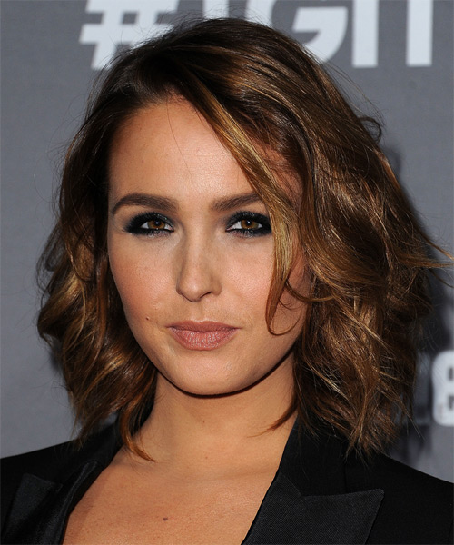Camilla Luddington Medium Wavy Casual   Hairstyle   - Dark Brunette - Side on View
