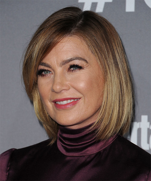 Ellen Pompeo Medium Straight Casual Bob  Hairstyle with Side Swept Bangs  - Dark Blonde - Side on View