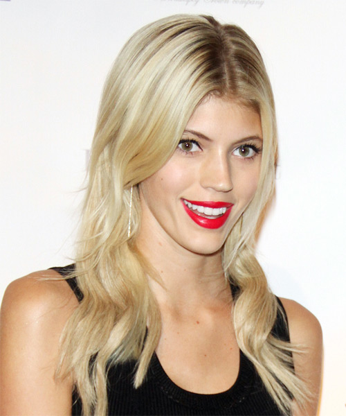 Devon Windsor Long Wavy Casual    Hairstyle   - Light Blonde Hair Color - Side on View