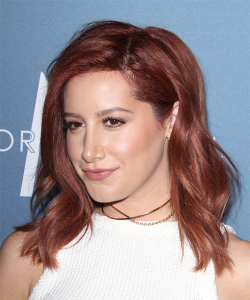 Ashley Tisdale Medium Wavy Casual   Hairstyle   - Dark Red (Burgundy) - Side on View
