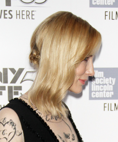 Cate Blanchett Medium Wavy Formal    Hairstyle   -  Golden Blonde Hair Color with Light Blonde Highlights - Side on View