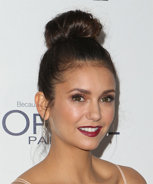 Nina Dobrev Long Straight Casual  Updo Hairstyle   (Chocolate) - Side on View