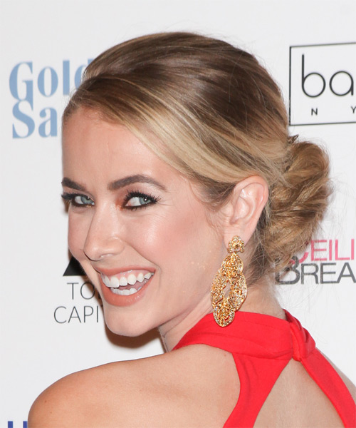 Olivia Jordan Long Straight Formal   Updo Hairstyle   - Medium Brunette Hair Color with Light Blonde Highlights - Side on View