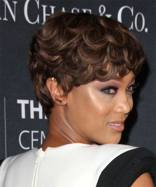 Tyra Banks Short Straight Formal    Hairstyle   - Dark Brunette Hair Color - Side on View